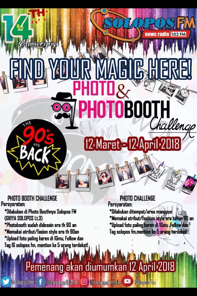 12 Maret – 12 April 2018 – PHOTO And PHOTO BOTH CHALLENGE HUT 14 th Solopos FM