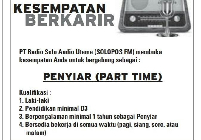 Lowongan Penyiar Part time Solopos FM