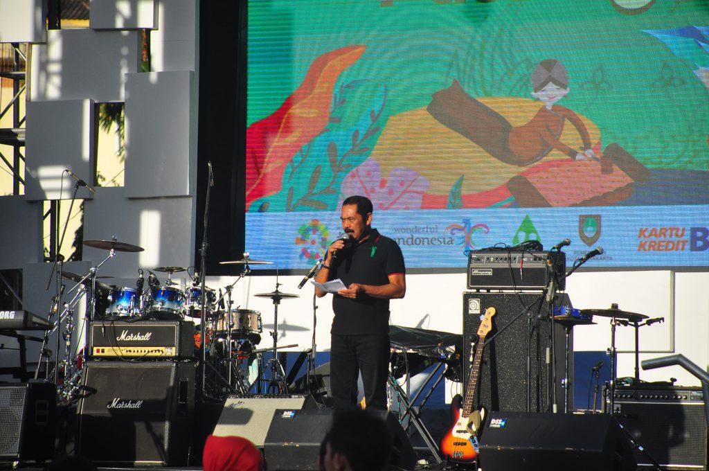 Walikota Solo, FX. Hadi Rudyatmo saat sambutan di pembukaan Harmoni Pasar Klewer, Jumat (03/08/2018)