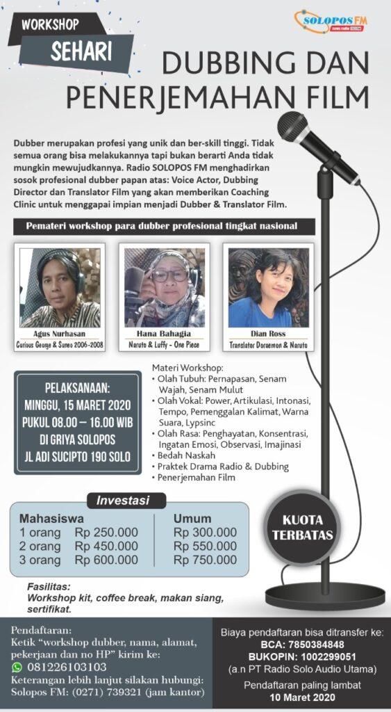 Solopos FM Gelar Workshop Dubbing Dan Penerjeman Film