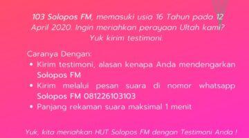 Yuk Kirim Testimoni Untuk Ultah 16 Solopos FM !