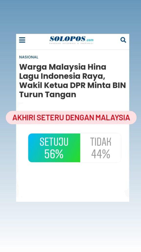 Pendengar Solopos FM Terbelah Dalam Mengakhiri Seteru Indonesia Malaysia