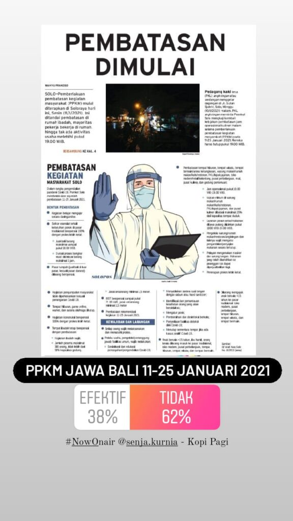 Pesimis! Mayoritas Pendengar Solopos FM Tak Yakin Efektivitas PSBB Jawa Bali