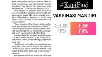 Komersialisasi! Mayoritas Pendengar Solopos FM Tidak Setuju Vaksinasi Mandiri Covid-19