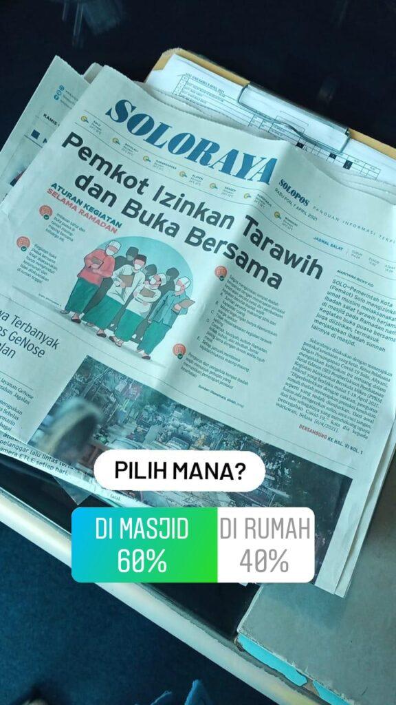 Pemkot Ijinkan Tarawih Di Masjid, Pendengar Solopos FM Siap Jamaah Ke Masjid